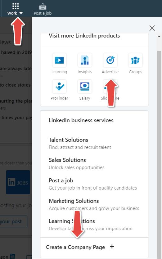 LinkedIn marketing ustvarite profil podjetja na Linkedin