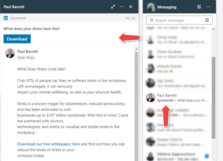 LinkedIn oglaševanje in primer InMail oglasa v Linkedin