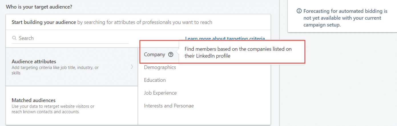 LinkedIn oglaševanje omogoča oblikovanje obcinstva glede na podjetje s katerim je uporabnik povezan Martin Korošec