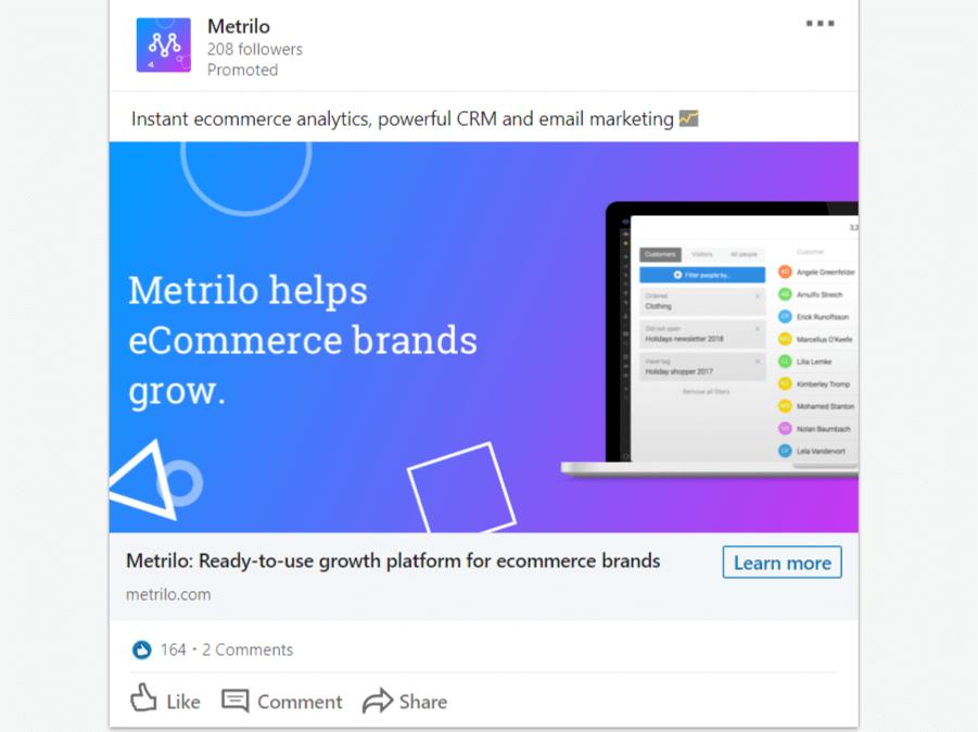 LinkedIn oglaševanje primer Sponsored content oglasa v Linkedin