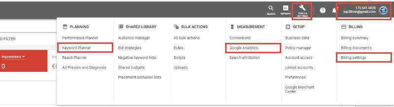 google-oglasevanje-google-ads-osnovni-pogled-orodja-in-nastavitve