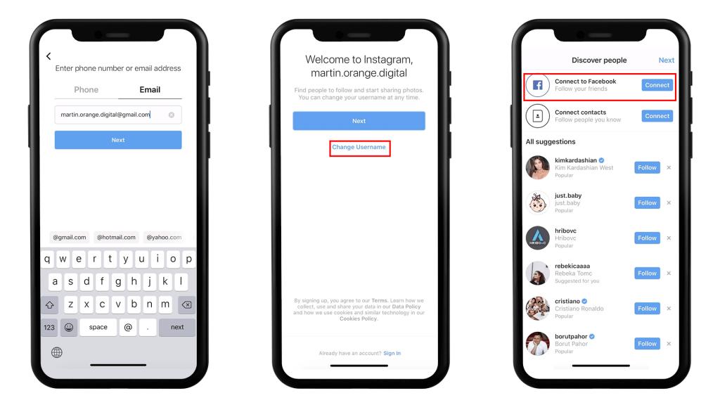 Grafični prikaz prvih treh korakov ustvarjanja profila na Instagramu. Vnesite svoje kontaktne podatke, Instagram profil.