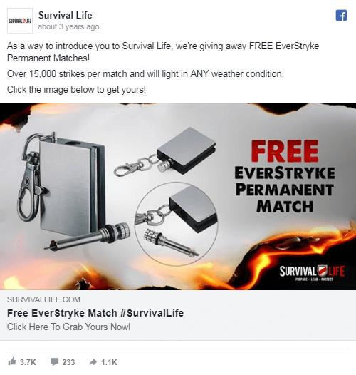 Primer oglasa, ki deluje po dropshipping sistemu free + shipping Martin Korošec digitalni marketing